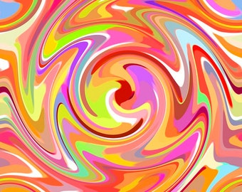 Just Trippin' Psychedelic Swirl Orange Quilting Treasures 1 yard