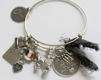 French Poodle Expandable Charm Bangle, Patriotic French Flag Silver Charm Bracelet, Poodle Lover Gift, French Charms Oui Bangle, Dog Lover