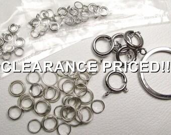 CLEARANCE! Spring Rings, Jump Rings, Split Rings: Destash Lot of 80 Silvertone Metal Pieces