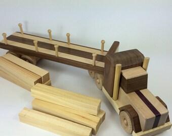 Wood Tractor Trailer - Handmade wood toy, Peterbilt truck style, maple, walnut - TT011
