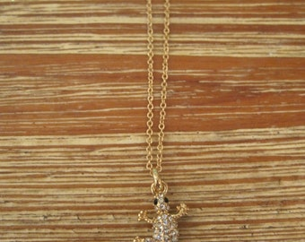 Tiny Rhinestone Lizard Necklace - Gold Rhinestone Lizard Necklace