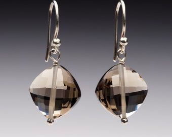 Smoky Quartz Checkerboard faceted earrings with sterling silver