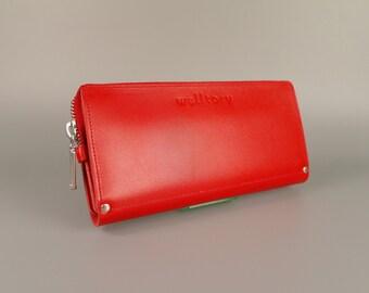 Leather wallet, zipper wallet,  Womens Wallet,  iphone wallet, leather card wallet, Leather Purse,  long leather wallet, red wallet