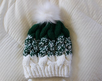 Braided Cable Knit Beanie, Hand knit chunky hat