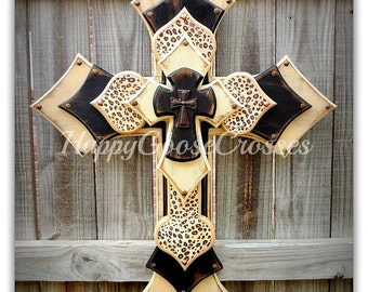 Wall CROSS - Wood Cross - X-Large - 5 layers - Antiqued Beige and Black with leopard / cheetah print