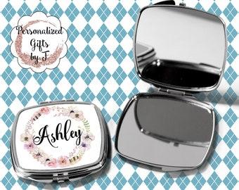 Pocket Mirror, Bridesmaids Gifts, Personalized Bridesmaid Gift, Personalized Compact Mirror, Monogrammed Mirror design 1116