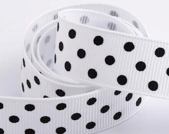 Full Reel Polka Dot Grosgrain Ribbon Ribbon 15mm x 10m - White