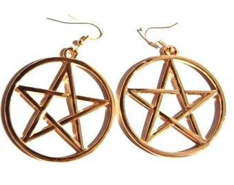 Large Gold Pentagram Hoop Earrings on French Hooks 4P