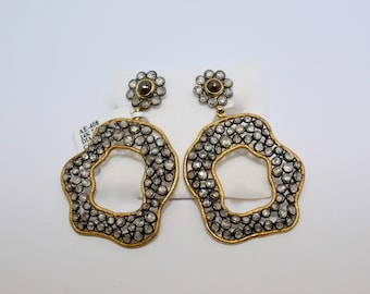 Vintage 925 Sterling silver and 14 kt yellow gold earrings with diamonds