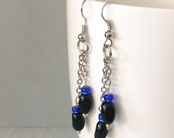 Black dangle earrings, black drop earrings, blue dangle earrings, blue drop earrings, black earrings, blue earrings, black chain earrings