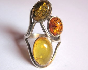 Impressive silver ring 925 and amber three colors 53 T