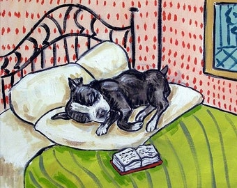 Boaston Terrier Sleeping Dog Art Tile