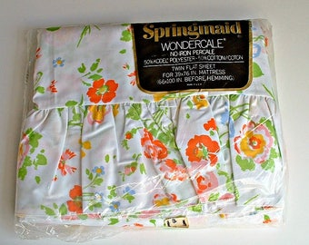 Springmaid Twin Flat Sheet  in Package Vintage New Old Stock NIP Party Time Pattern Floral Flowers Wondercale