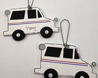 USPS Mail Carrier Postal Service Personalized Christmas Tree Ornament Wood