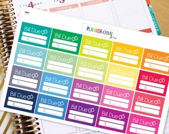 Bill Due Planner Stickers Erin Condren Life Planner (ECLP) - 25 Bill Due Budget Money Stickers (#1007)