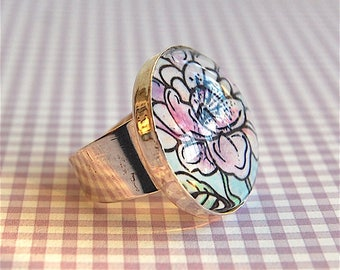 Glass Ring, HAND-PAINTED, Flower Ring, Adjustable Ring