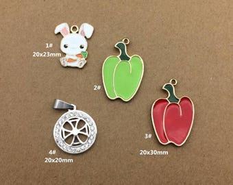 10PCS, Enamel Charm, Rabbit Charm, Pumpkin Pendant, Jewelry Charm, Craft Supplies, Gold Tone