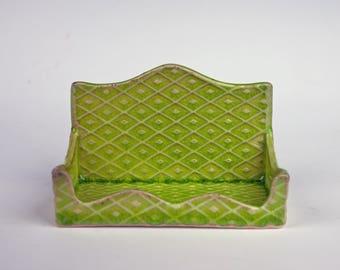 Handmade porcelain business card holder or ring holder, for Moo square cards, slab built, diamond stamp, chartreuse glaze