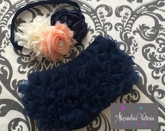 NAVY BLUE  BLOOMER set,  baby headband and chiffon ruffle diaper cover, navy blue, pink and cream baby set, shabby chic.