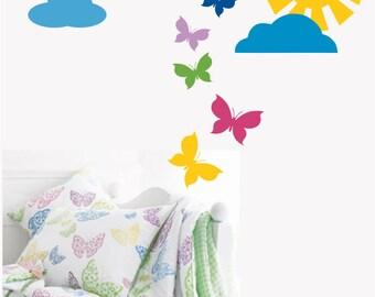 Sun with Butterflies Vinyl Wall Decal - Nursery or Children's Room Wall Sticker