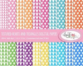 50%OFF Digital papers, heart digital paper, triangle digital paper, textured digital paper, scrapbook paper, digital scrapbooking paper