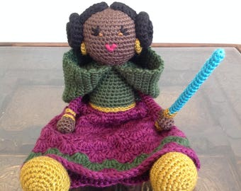 African American Leia Inspired Doll - Star Wars Jedi light saber purple green Crochet plush Stuffed Toy Baby Girl gift - MADE TO ORDER