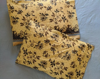 Sarong Pillowcase Set - Browns and Yellow Floral - Standard Size - Cotton - 20 x 29.5""