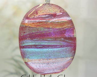 Red Rainbow Dichroic Pendant , Handmade Fused Glass Jewelry from North Carolina
