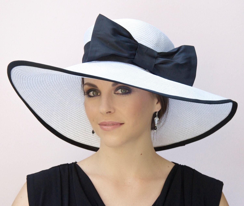 Wedding Hat, Black and White Hat, Wide Brim Hat, Derby Hat ...