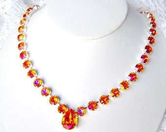 Astral Pink rhinestone necklace / Swarovski Crystal / Bridesmaid / Statement necklace / gift for her / Tennis necklace / hot pink