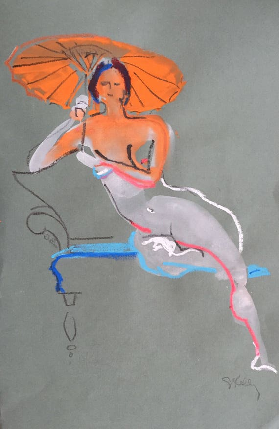 Nude painting- Original watercolor painting of Nude #1443 by Gretchen Kelly