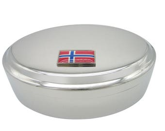 Thin Bordered Norway Flag Pendant Oval Trinket Jewelry Box
