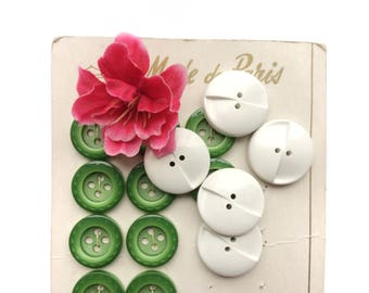 5 Large White French Antique Buttons, 27mm