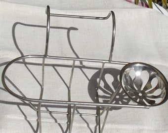 Antique French Soap Dish Bath Rack Chrome Brass Hook Over Bath Basket