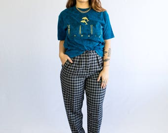 80's Anne Klein Plaid Pant // wool, silk, cashmere // high waist, 1980s vintage, plaid, designer