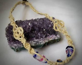 Hemp Choker with Glass Beads