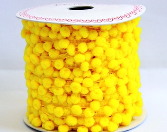 YELLOW pom pom trim - 5m, haberdashery UK shop, sewing supplies