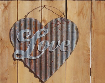 FREE SHIPPING Up-cycled old Corrugated Metal Heart with Love