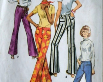 Vintage 70's Sewing Pattern, Simplicity 9069, Misses' Bell Bottom Hip-Hugger Pants, Size 14, 27 Waist, Retro Mod 1970's Women's Fashion