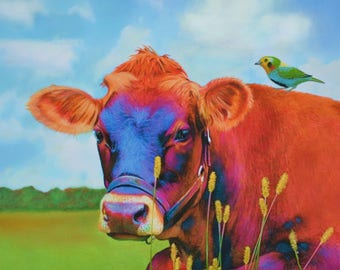 MR MOO - Fine Art Cow Print from original pastel painting  11 x 14 inch by Art by Connie