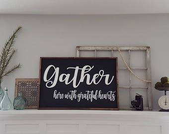 Wooden Gather Sign SM Distressed Dining Room