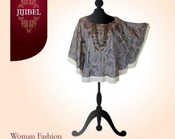 Short tunic, Chic and trendy Beige slightly ruffled and embroidered taffeta finish fringe, handmade