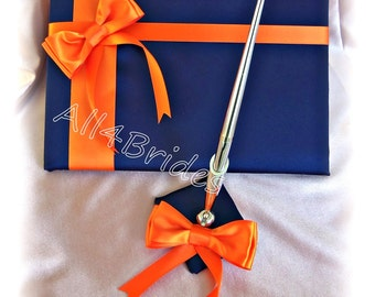 Wedding Guest Book Navy Blue and Orange wedding book and pen set.