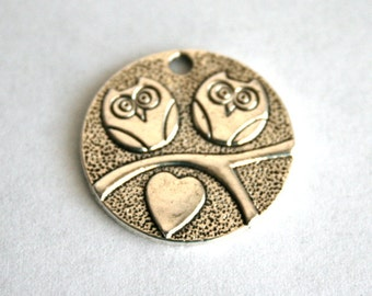 5 Silver Owls on Branch Charms/Pendants