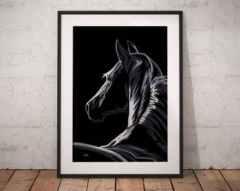 Gift for horse lover, horse painting, horse gift, pop art print, horse art, horse decor, horse lover gift, pop art horse, horse pop art