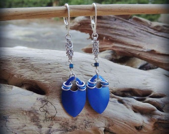 Blue Dragon chainmaille earrings, hand crafted lightweight aluminium colourful dangle earrings, dragon jewelry, dragon gift, aluminium gift