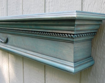 Turquoise Crown Molding Wall Shelf - Fireplace Mantle - Floating Shelf