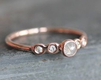 Solid 14K ROSE Gold Diamond Engagement Ring -  3.5mm Conflict Free Natural Light Gray Rose-Cut Diamond with Smaller Flush-Set White Diamonds
