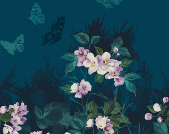 Teal, Lavender Floral Panel, Butterflies, Mystic Garden, Deborah Edwards, Northcott (23 inches)