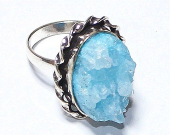 Lovely Swiss Blue Topaz Ruff 925 Silver Ring Adjustable